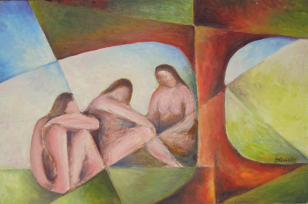 tři ženy - Jan Hinais - kubismus