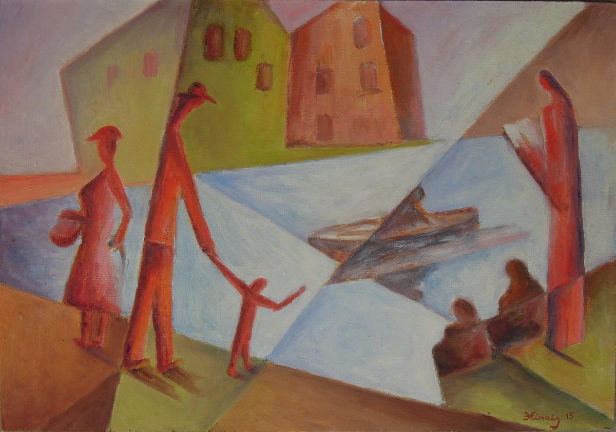 červení lidé - Jan Hinais - kubismus