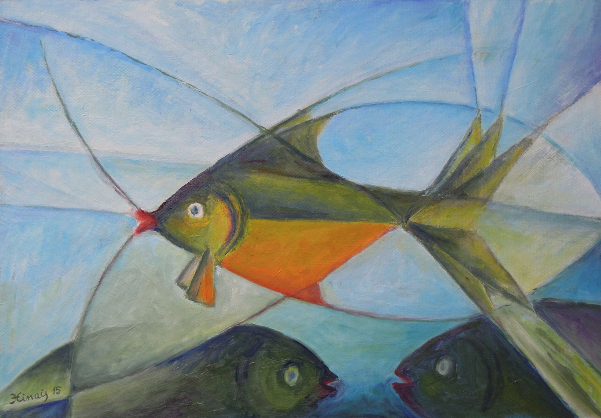 čtyři ryby - Jan Hinais - kubismus