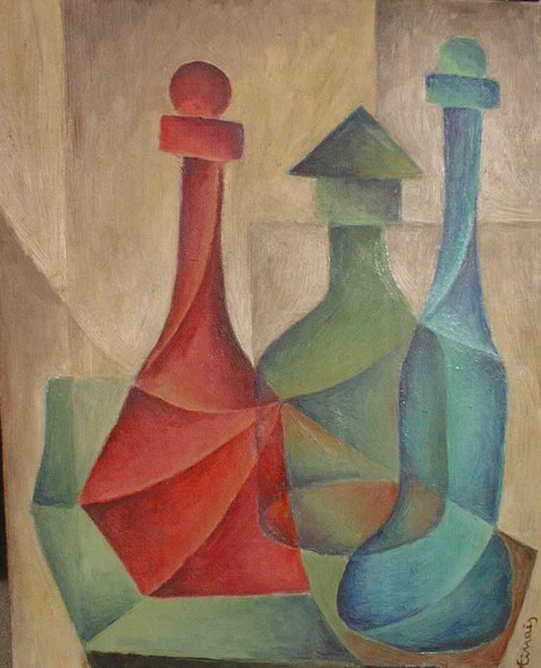 3 lahve - Jan Hinais - kubismus
