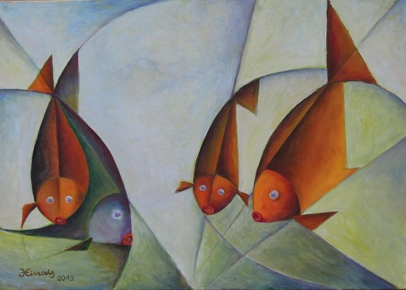 4 ryby - Jan Hinais - kubismus