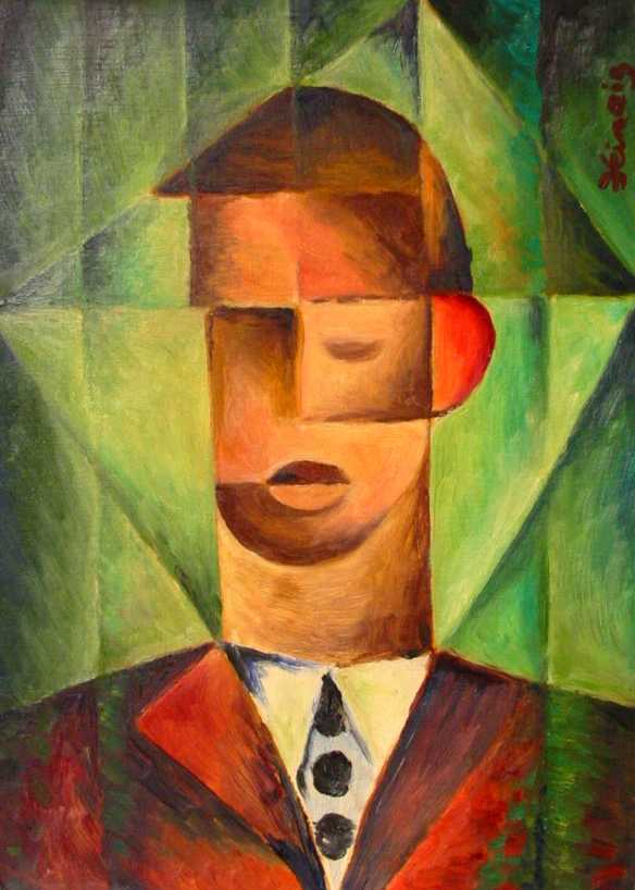 červené ucho - kubistické obrazy