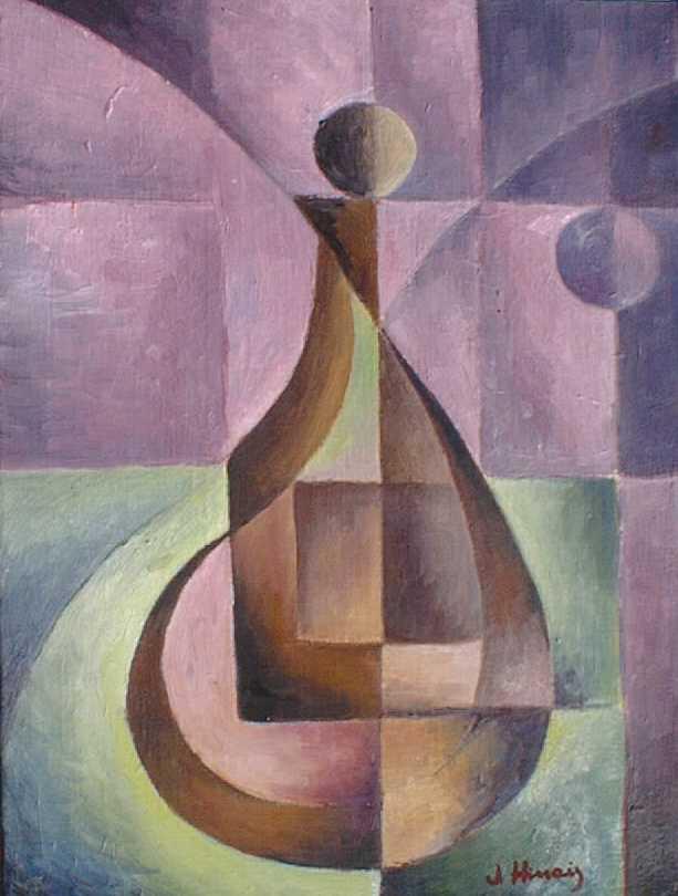 láhev s kuličkou - kubistické obrazy
