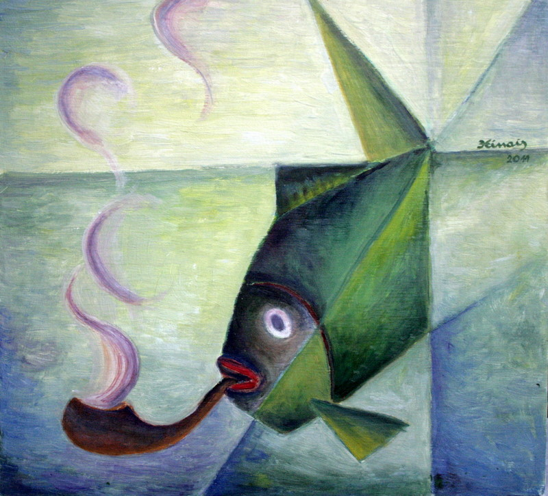 ryba s fajfkou - Jan Hinais - kubismus