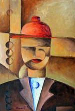 červený klobouk - Jan Hinais - kubismus