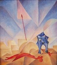 padlý bojovník - Jan Hinais - kubistické obrazy
