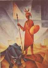 bojovník - Jan Hinais - kubistické obrazy