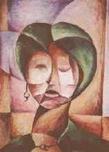 žena se zelenými vlasy - kubistické obrazy