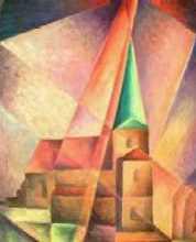 kostel - Jan Hinais - kubistické obrazy