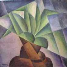 zelené listy - Jan Hinais - kubistické obrazy