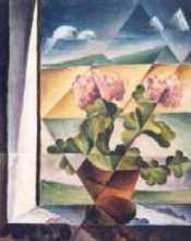 pelargonie - Jan Hinais - kubistické obrazy