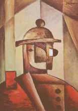 muž v červeném kabátě - kubistické obrazy