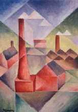 červený komín - Jan Hinais - kubismus
