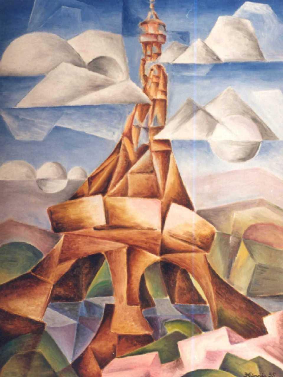 rozhledna - Jan Hinais - kubistické obrazy